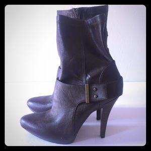Nine West brown buckle detail platform heel boots